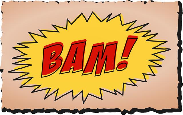 La palabra Bam! en letras grandes y rojas. Imagen para compartir del post Letters and Sounds