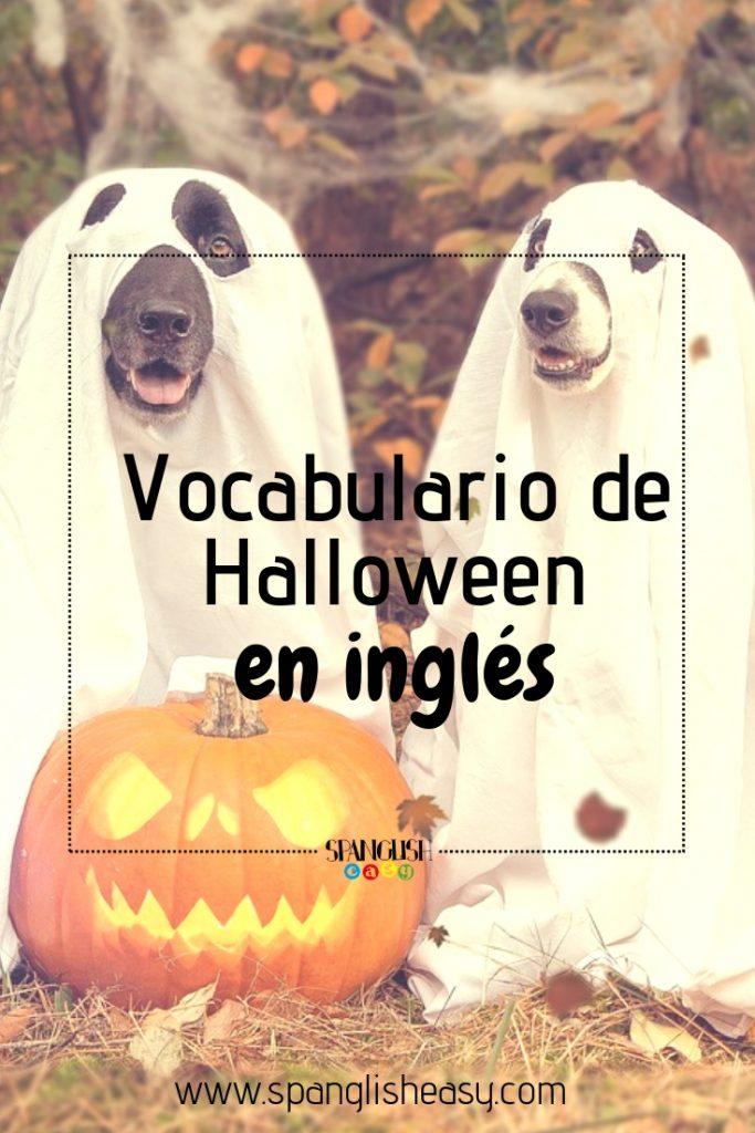 Imagen para Pinterest - Vocabulario de Halloween en inglés