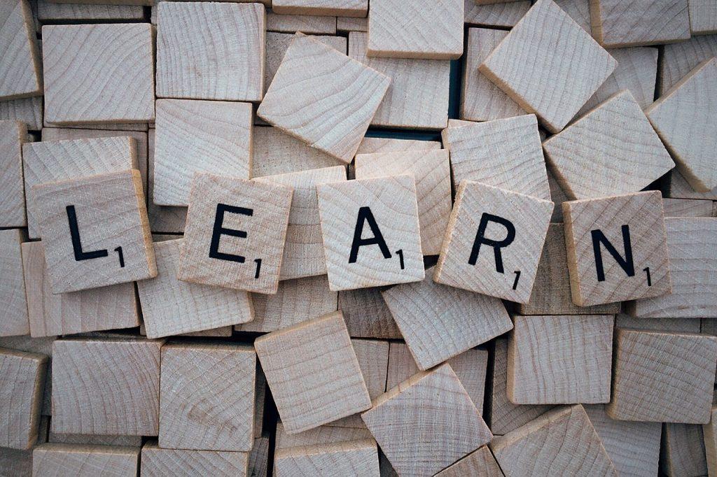 Guided Reading - Imagen piezas scatergoris con la palabra learn